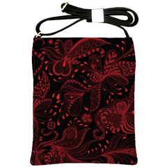 Seamless Dark Burgundy Red Seamless Tiny Florals Shoulder Sling Bags by flipstylezdes