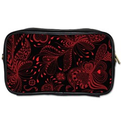 Seamless Dark Burgundy Red Seamless Tiny Florals Toiletries Bags