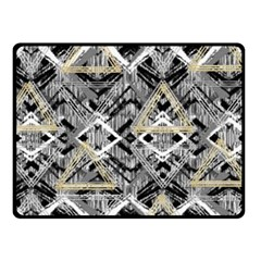 Retro Black And White Gold Design By Kiekiestrickland Fleece Blanket (small)