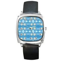 Adorably Cute Beach Party Starfish Design Square Metal Watch by flipstylezdes
