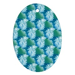Palm Trees Tropical Beach Coastal Summer Style Small Print Ornament (oval)