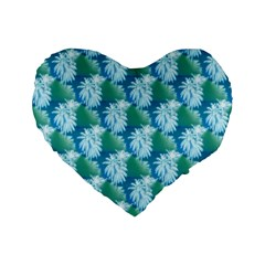 Palm Trees Tropical Beach Coastal Summer Style Small Print Standard 16  Premium Flano Heart Shape Cushions by CrypticFragmentsColors