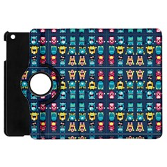 Funny Monsters In Blue Background Apple Ipad Mini Flip 360 Case by flipstylezdes