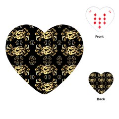 Golden Flowers On Black With Tiny Gold Dragons Created By Kiekie Strickland Playing Cards (heart)
