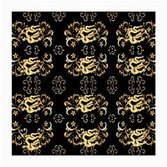 Golden Flowers On Black With Tiny Gold Dragons Created By Kiekie Strickland Medium Glasses Cloth