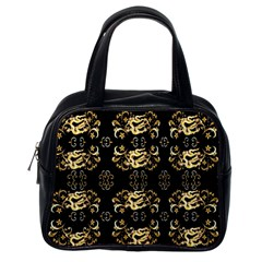 Golden Flowers On Black With Tiny Gold Dragons Created By Kiekie Strickland Classic Handbags (one Side) by flipstylezdes