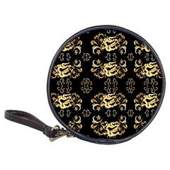Golden Flowers On Black With Tiny Gold Dragons Created By Kiekie Strickland Classic 20 Cd Wallets