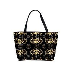Golden Flowers On Black With Tiny Gold Dragons Created By Kiekie Strickland Shoulder Handbags