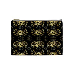 Golden Flowers On Black With Tiny Gold Dragons Created By Kiekie Strickland Cosmetic Bag (medium)