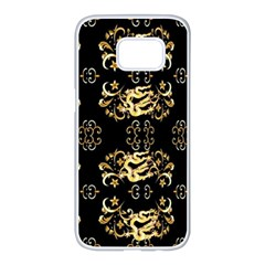 Golden Flowers On Black With Tiny Gold Dragons Created By Kiekie Strickland Samsung Galaxy S7 Edge White Seamless Case