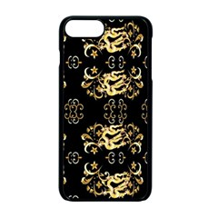 Golden Flowers On Black With Tiny Gold Dragons Created By Kiekie Strickland Apple Iphone 7 Plus Seamless Case (black)
