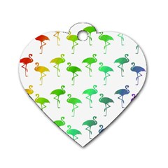 Flamingo Pattern Rainbow Colors Dog Tag Heart (two Sides)
