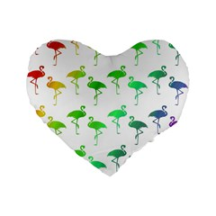 Flamingo Pattern Rainbow Colors Standard 16  Premium Flano Heart Shape Cushions by CrypticFragmentsColors