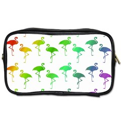 Flamingo Pattern Rainbow Colors Toiletries Bags 2 Side