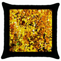 Birch Tree Yellow Leaves Throw Pillow Case (black) by FunnyCow