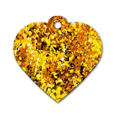Birch Tree Yellow Leaves Dog Tag Heart (one Side) by FunnyCow