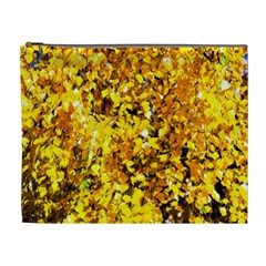 Birch Tree Yellow Leaves Cosmetic Bag (xl) by FunnyCow