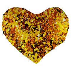 Birch Tree Yellow Leaves Large 19  Premium Flano Heart Shape Cushions by FunnyCow