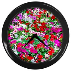 Colorful Petunia Flowers Wall Clock (black)
