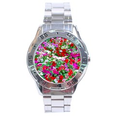 Colorful Petunia Flowers Stainless Steel Analogue Watch