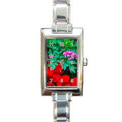 Bleeding Heart Flowers Rectangle Italian Charm Watch
