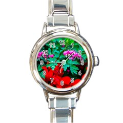 Bleeding Heart Flowers Round Italian Charm Watch by FunnyCow