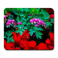 Bleeding Heart Flowers Large Mousepads by FunnyCow