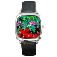 Bleeding Heart Flowers Square Metal Watch by FunnyCow