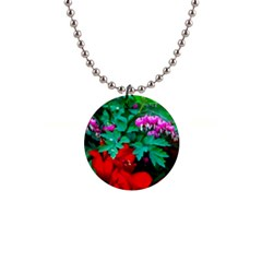 Bleeding Heart Flowers Button Necklaces by FunnyCow