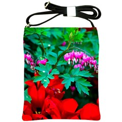 Bleeding Heart Flowers Shoulder Sling Bags by FunnyCow