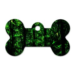 Emerald Forest Dog Tag Bone (two Sides) by FunnyCow