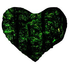 Emerald Forest Large 19  Premium Flano Heart Shape Cushions by FunnyCow
