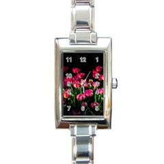 Pink Tulips Dark Background Rectangle Italian Charm Watch
