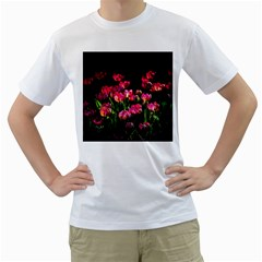 Pink Tulips Dark Background Men s T Shirt (white) (two Sided)