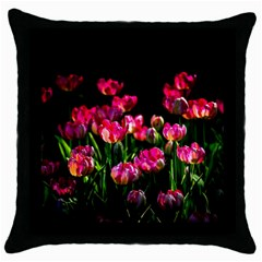 Pink Tulips Dark Background Throw Pillow Case (black)