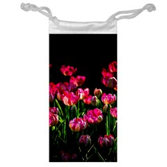 Pink Tulips Dark Background Jewelry Bags by FunnyCow