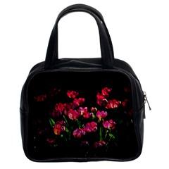 Pink Tulips Dark Background Classic Handbags (2 Sides)