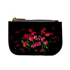 Pink Tulips Dark Background Mini Coin Purses by FunnyCow