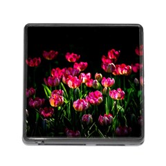 Pink Tulips Dark Background Memory Card Reader (square 5 Slot) by FunnyCow