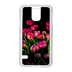 Pink Tulips Dark Background Samsung Galaxy S5 Case (white) by FunnyCow