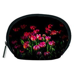 Pink Tulips Dark Background Accessory Pouches (medium)  by FunnyCow