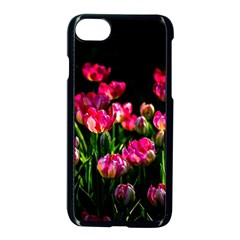 Pink Tulips Dark Background Apple Iphone 7 Seamless Case (black) by FunnyCow