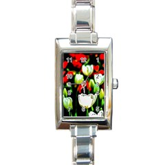 White And Red Sunlit Tulips Rectangle Italian Charm Watch