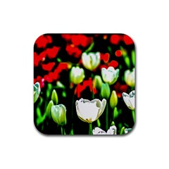 White And Red Sunlit Tulips Rubber Coaster (square)