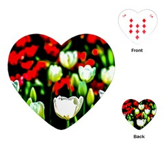 White And Red Sunlit Tulips Playing Cards (heart)  by FunnyCow