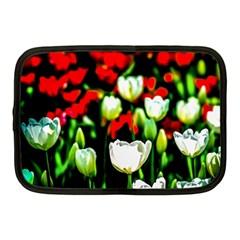 White And Red Sunlit Tulips Netbook Case (medium)
