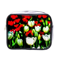 White And Red Sunlit Tulips Mini Toiletries Bags by FunnyCow