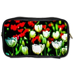 White And Red Sunlit Tulips Toiletries Bags 2 Side by FunnyCow