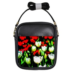 White And Red Sunlit Tulips Girls Sling Bags