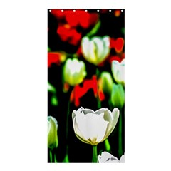 White And Red Sunlit Tulips Shower Curtain 36  X 72  (stall)  by FunnyCow